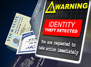 Warning sign, social security and credit cards photograph.
