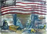 Painting of homeless sleeping under American flag