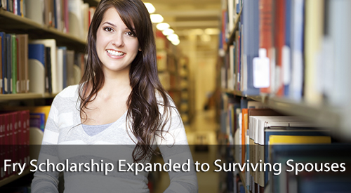 Young woman in the library. Text: Fry Scholarship expanded to surviving spouses.