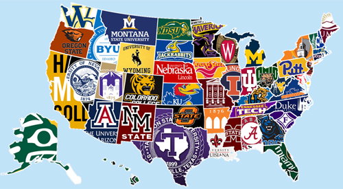 US map with college logos.