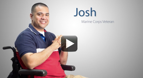 US Marine Corps Veteran Josh in a wheel chair.