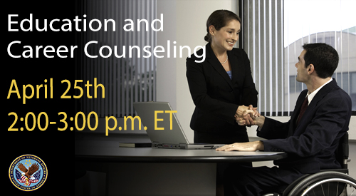 Facebook Live event on 4/25 at 2:00 pm for education and employment counseling