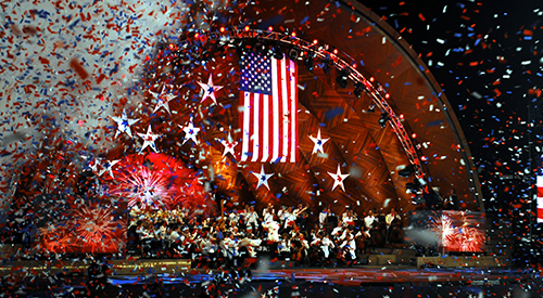 The annual Independence Day Boston Pops Orchestra concert at the Hatch Shell in Boston, Massachusetts.