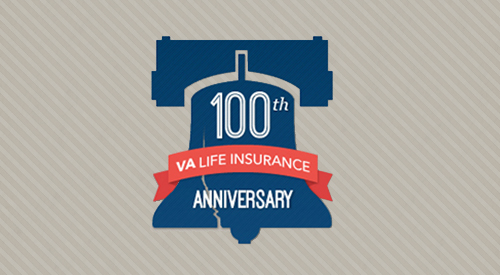 VA Life Insurance 100th Anniversary text on cracked Liberty bell.