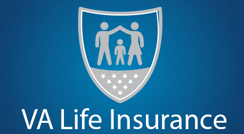 VA Life Insurance text and icon of a shield over a family.