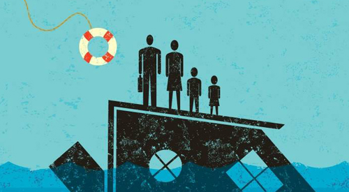 Illustration of family on a sinking ship.