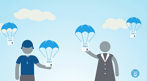 Stylized male and female Veterans with parachutes carrying VGLI certificates landing.