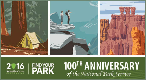 Illustrations of national parks celebrating the 100th anniversary of the National Park Service.