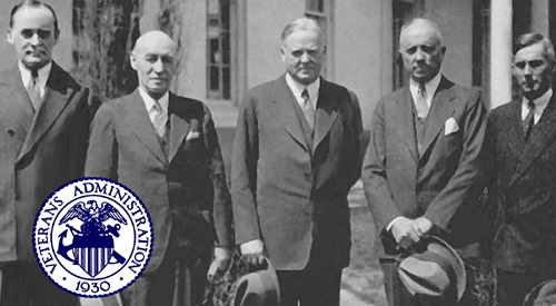 July 21, 1930 EO 5398 post-signing photo, courtesy of Charles M. Griffith, Jr. Left to right: Col. George E. Ijam, acting Veterans Bureau Administrator, later VA Assistant Administrator; Brig. Gen. Frank T. Hines, Administrator of Veterans Affairs; President Herbert Hoover; Col. Louis H. Tripp, Dire