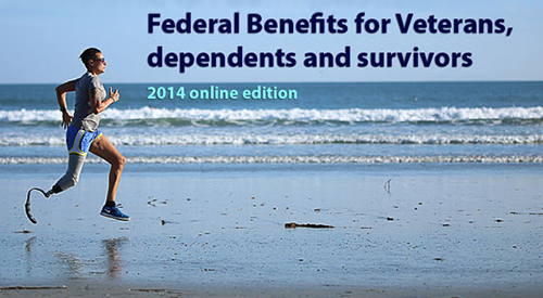 Disabled Veteran running on the beach with The 2014 version of the Federal Benefits for Veterans Dependents and Survivors 2014 online edition text.