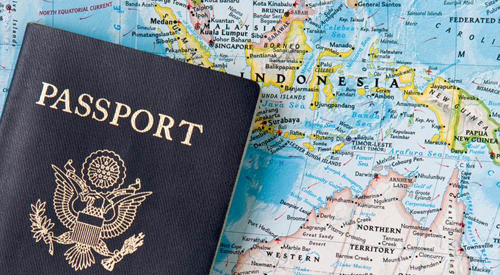 Passport and World Map.