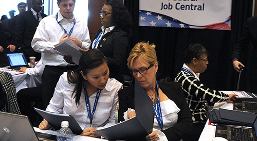 Women Veterans at a federal employment fair.