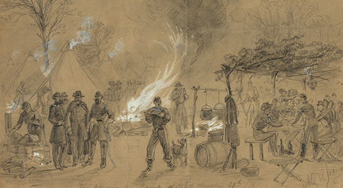 Alfred Waud drawing of Thanksgiving in camp.