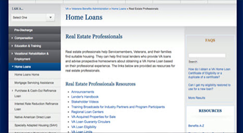 image of the real estate professionals web page