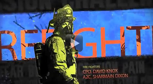 Forever GI Bill video still frame of a firefighter