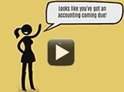 Stick figure with speech bubble Looks like you've got an accounting coming due!