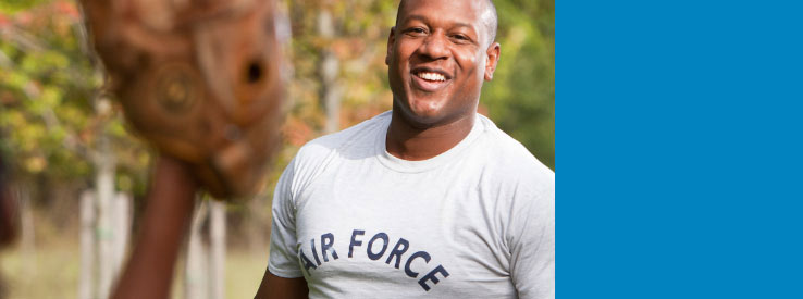 Smiling man wearing an Air Force shirt