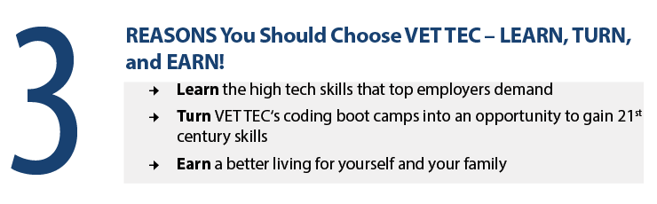 3 Reasons you should choose Vet Tec -Learn, Turn, and Earn!  Learn the high tech skills that top employers demand.  Turn Vet Tec's coding boot camps into an opportunity to gain 21st century skills.  Earn a better living for yourself and your family.