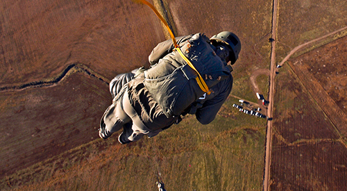 Static line parachute jumps near Camp Williams.