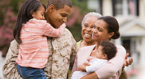 Photo of Veteran and his family