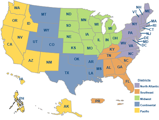 Regional Benefit Office Websites Veterans Benefits Administration - Virginia on map of usa